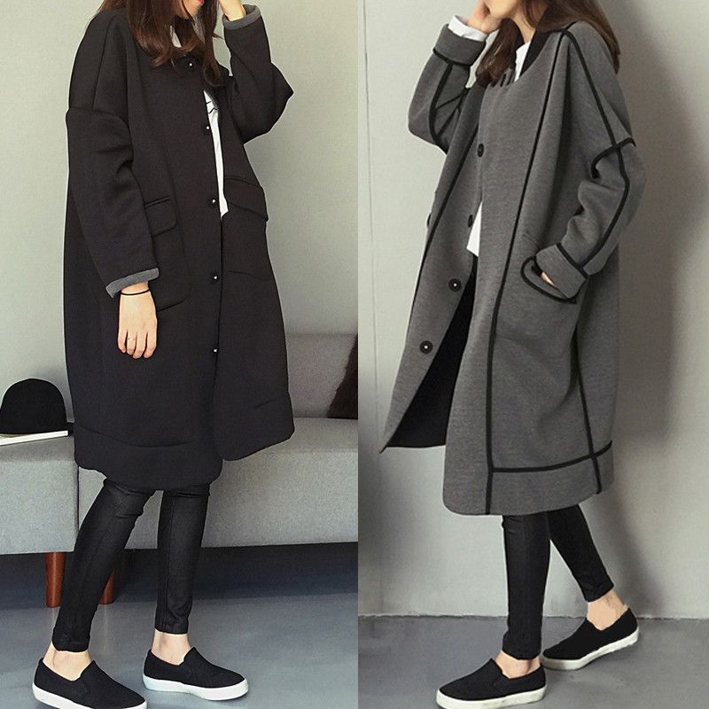 2019 NEW Autumn Winter Large Size Women's Sweatshirts Double-sided Wear  Baseball Uniform Long Hoodies Coat Female Jackets X259