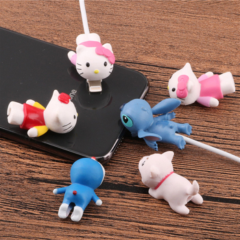 SIANCSCute Cartoon Animal doll Cable bite protector cable organizer winder chompers wire holder for iPhone 5 6s 7 8 plus x cable