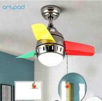 Artpad Modern Children Ceiling Fans With Lights AC220V Bedroom Living Room Kitchen Dining LED Ceiling Fan Lamp Remote Control