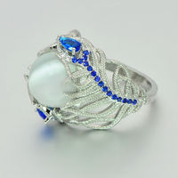 New Hot Blue Flower Moonstone Rings European Creative Vintage Ring Jewelry Woman Dropshipping 3