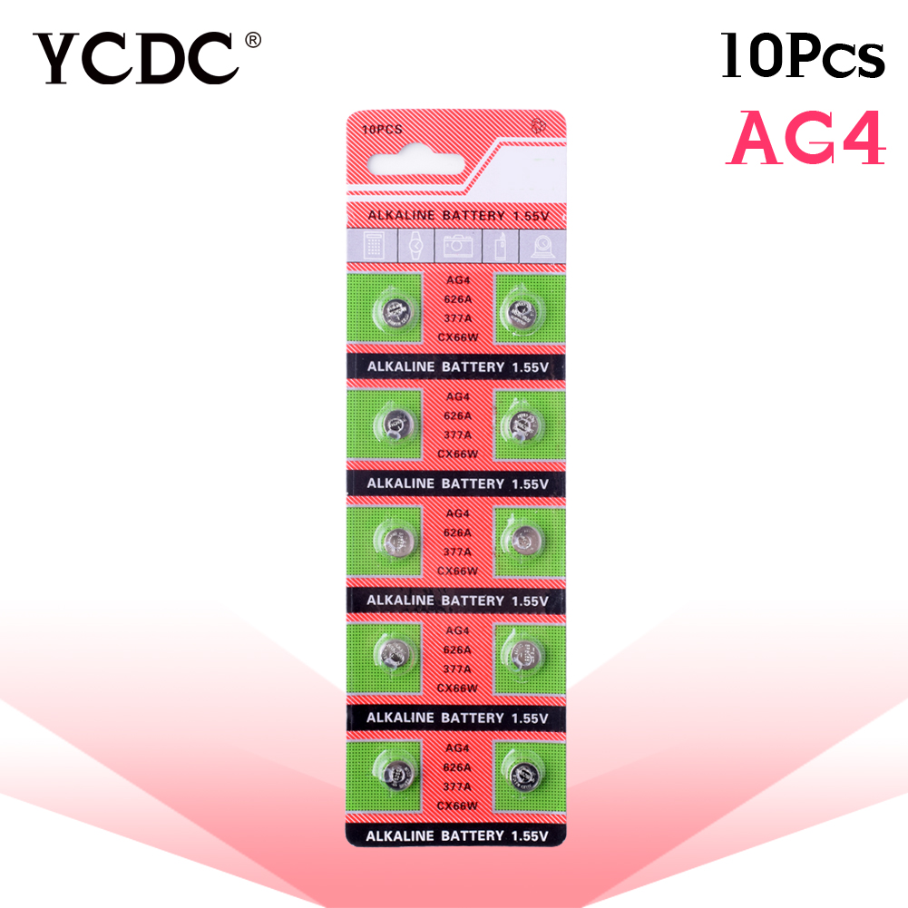 Cheap 10x pilha ag4 alkaline button coin cells battery lr626 177 377a d377 gp377 sr626 1.55v pile watch batteries accell replacement 1 5v 26mah ag4 lr626 377 sr626 177 button batteries 10 pcs