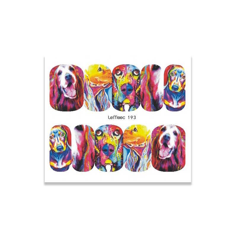 LEMOOC ongle transfert autocollant 1 feuille eau décalcomanie Animal mignon dessins Nail Art décoration pour filigrane