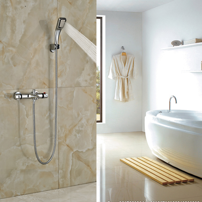 Thermostatic Shower Valve Wall Mounted Showe Faucet Dual Handle Handheld Shower Mixers Chrome Finish modern thermostatic shower mixer faucet wall mounted temperature control handheld tub shower faucet chrome finish