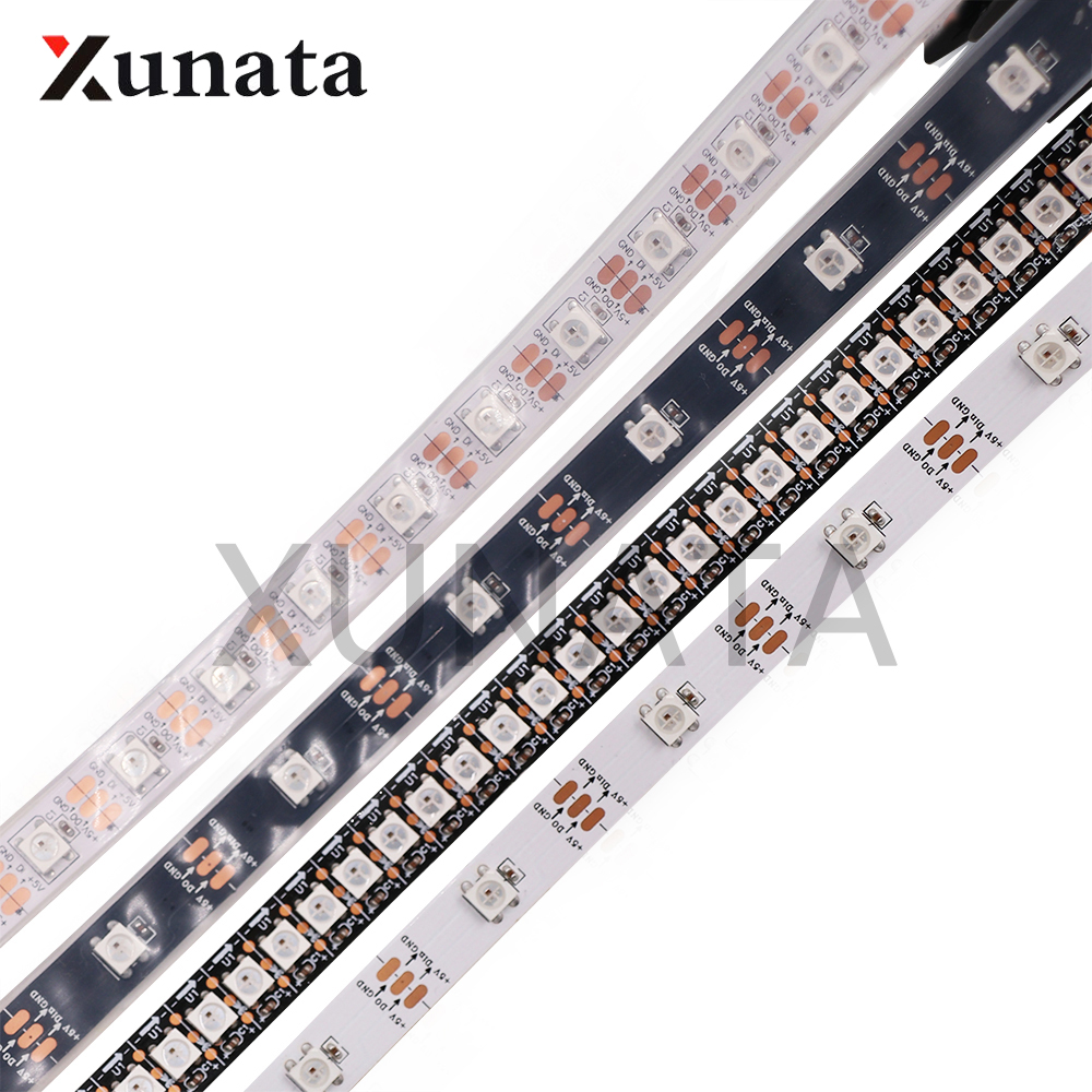 1m 2m 4m 5m <font><b>DC5V</b></font> <font><b>WS2812B</b></font> Black/White PCB 30/60/74/144 Leds/m WS2812 IC IP30/IP65/IP67 Led Pixel Strip Light image