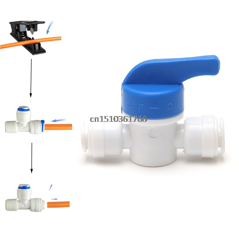 купить Equal Straight 1/4'' OD Hose Quick Connector Ball Valve RO Water Filter Kitchen #Y05# #C05# недорого