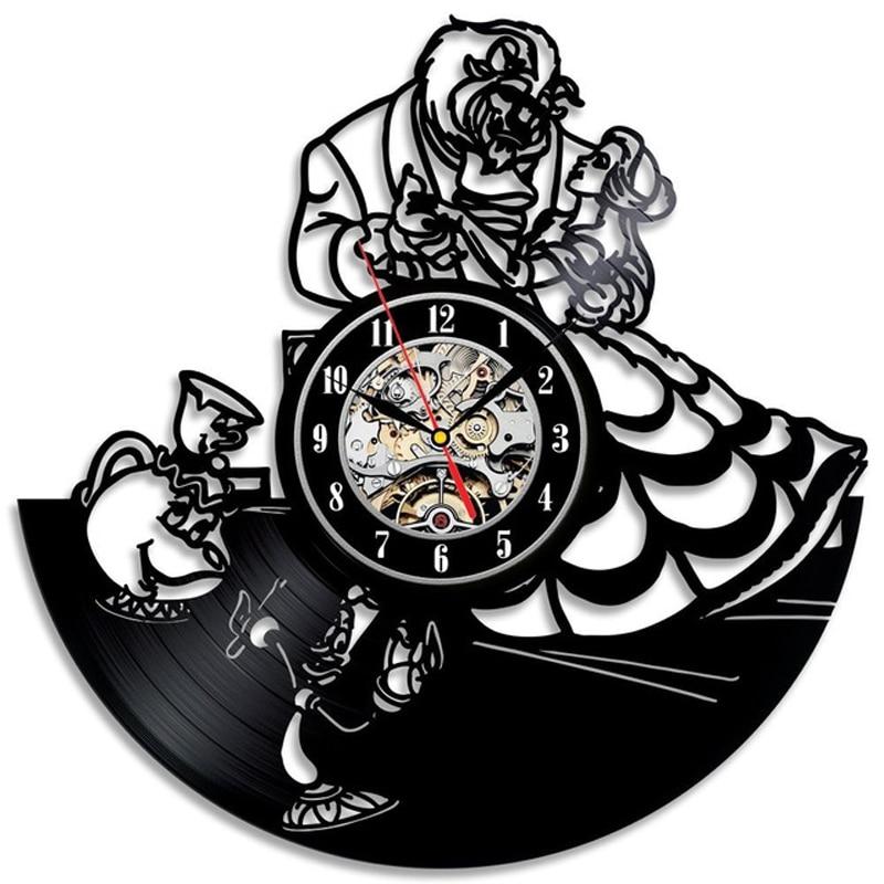 Vintage Vinyl Wall Clock Modern Design Cartoon 3D Stickers Beauty And The Beast Hanging Clocks Wall Watch Home Decor Silent 12