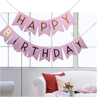 Pink Hat Happy Birthday Banner 1