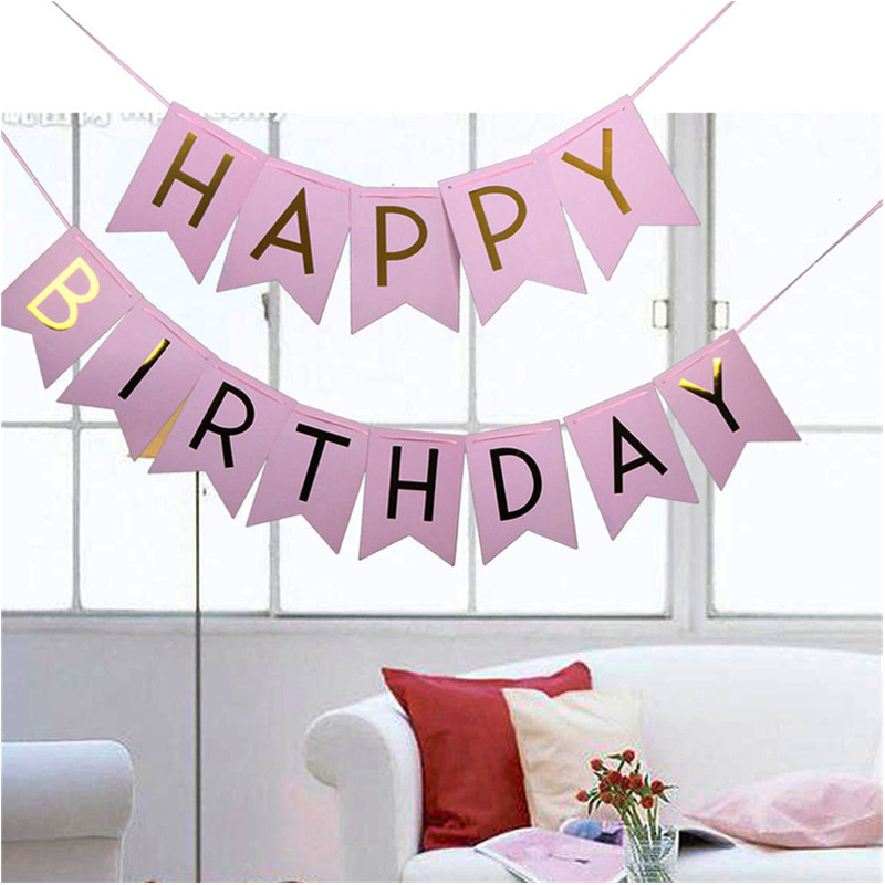 1set Baby Party Toys Pink Hat Happy Birthday Banner Hanging Toy Gold Letter Photo Prop Bunting Garland Toys For Children Girls