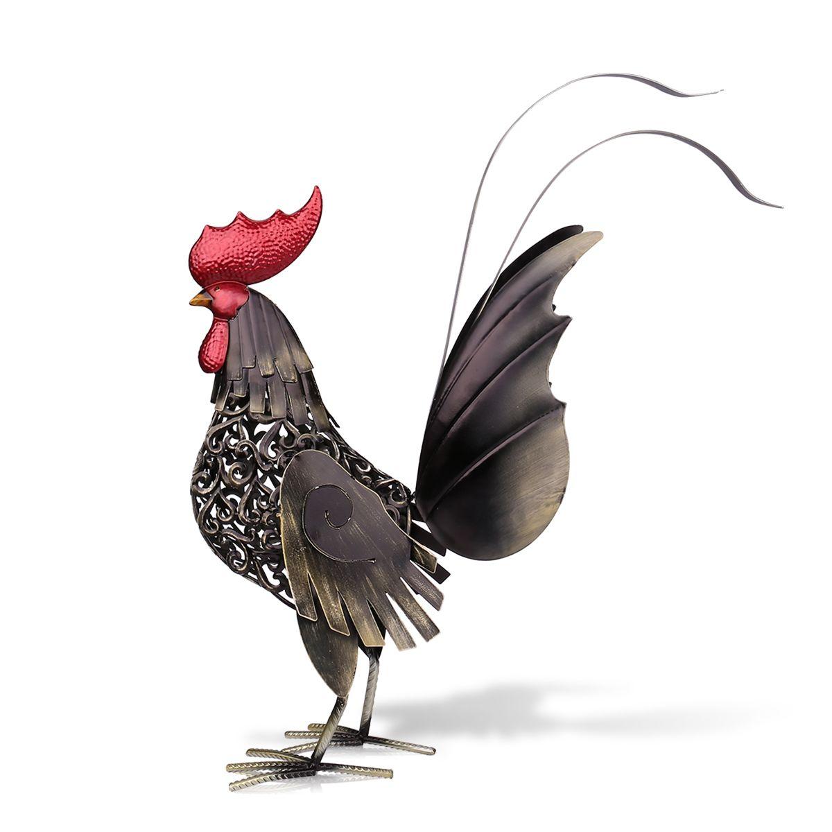 Tooarts Black iron rooster Metal escultura de hierro escultura Animal manualidades muebles para el hogar Artículos decoración de arte-in Estatuas y esculturas from Hogar y Mascotas    1