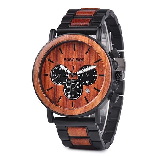 BOBO BIRD Wooden Watch Men erkek kol saati Luxury Stylish Wood Timepieces Chronograph Military Quartz Watches in Wood Gift Box 8