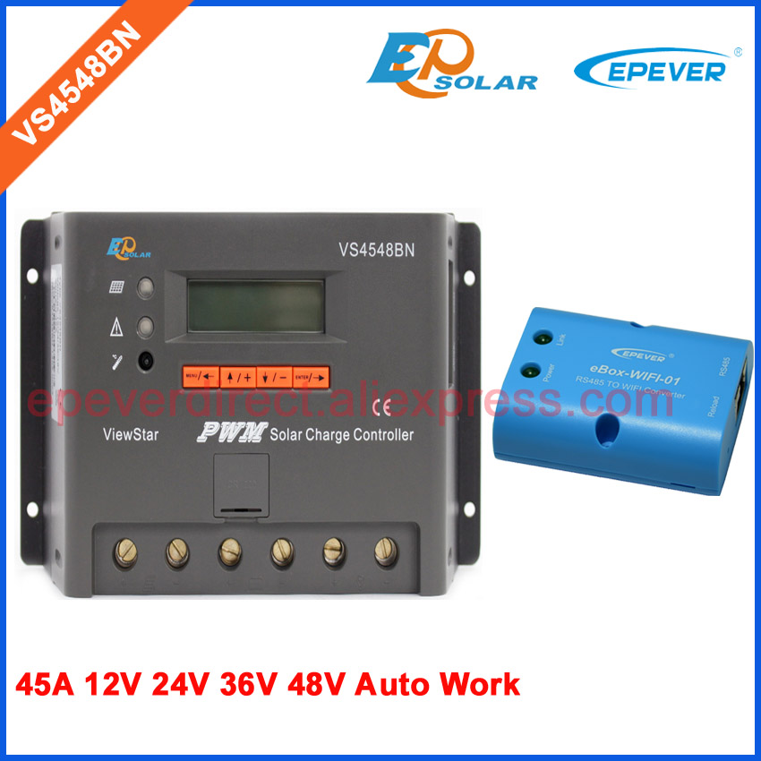 45A PWM solar battery charge 12v 24v 36v 48v controller with wifi function wifi BOX 45amp EPEVER New series pwm new viewstar series solar battery charge controller vs4548bn 45a 45amp epever epsolar 12v 24v 36v 48v auto work