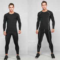 2016 Fitness Men Quick Dry Gym Clothing Mens Compression Set Long Sleeve Running Suit Compression T