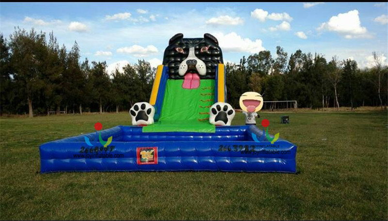 2018 Cheap 9X6M Dog Theme Inflatable Wet Water Slide With Swimming Pool On Sale