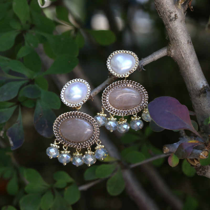 Designer Hand Made Of Natural Stone Small Tassels Pearl Earrings