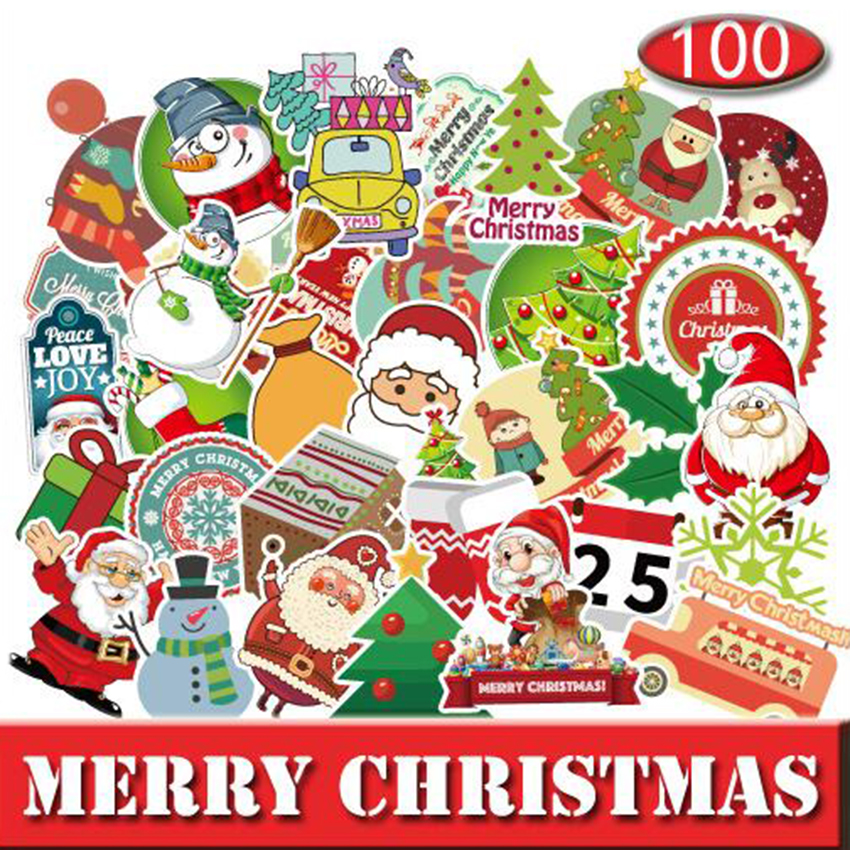 100 Bomb Christmas tree moose Santa Claus Stickers Graffiti For Skateboard Laptop Luggage Toy Car Window grille Holiday christmas tree