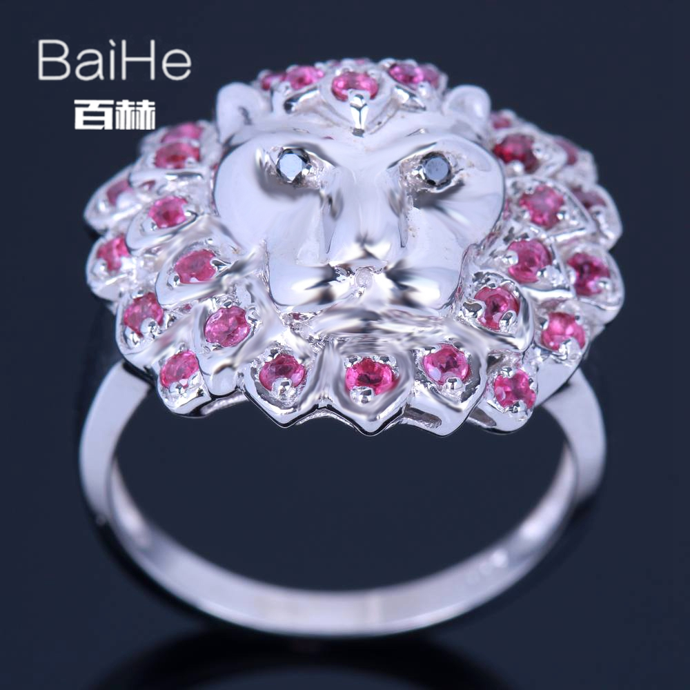 BAIHE Sterling Silver 925 0.8ct Certified H/SI3 Round Genuine Rubies & Black Diamonds Engagement Women Trendy Fine Jewelry Ring