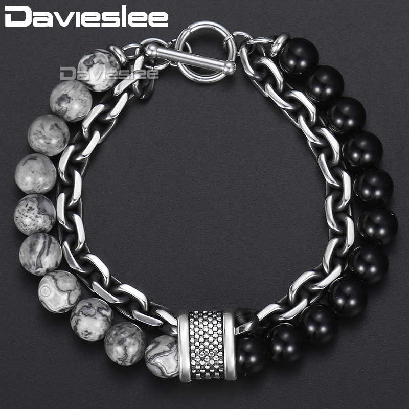 Davieslee Bracelet for Men Glass Map Stone Beads Chain Cut Cable Link Stainless Steel Black Gunmetal Tone Mens Bracelets DDB33