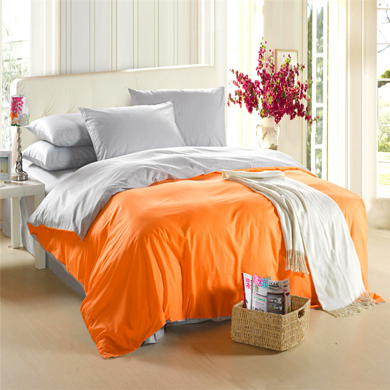 Gray queen size bedding : Orange silver grey bedding set king size queen quilt doona