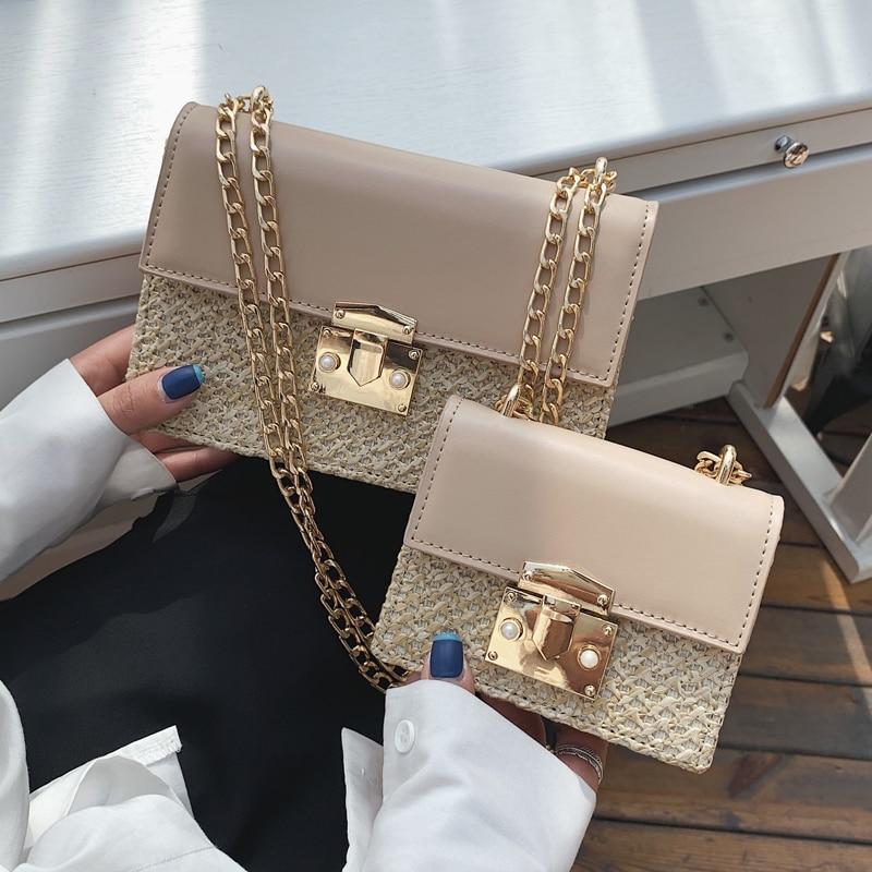 Flip Small Square Bag 2019 Summer Fashion New High Quality Straw Women's Designer Handbag Lock Chain Shoulder Messenger Bags