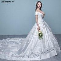 Элегантный Белый сатин свадебное платье es 2018 Кепки рукава длинный шлейф свадебного платья выдалбливают кружевной аппликацией свадебное пл