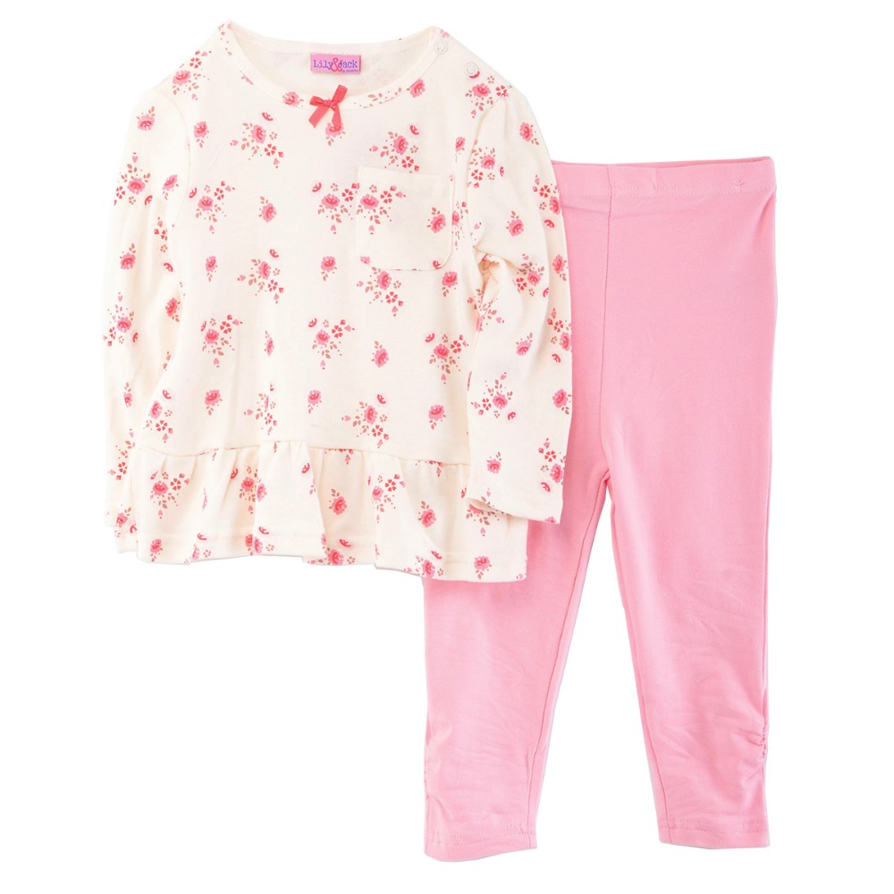 Luvena Fortuna 2pcs baby children kids 2-Piece Dress print flower T-shirt & pink Legging Set G8110 bebe comfort baby clothes