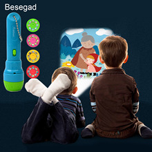Besegad Kids Sleep Story Storybook Projector Flashlight Torch Children Toys with 4 Stories for Child Early Learning Educational