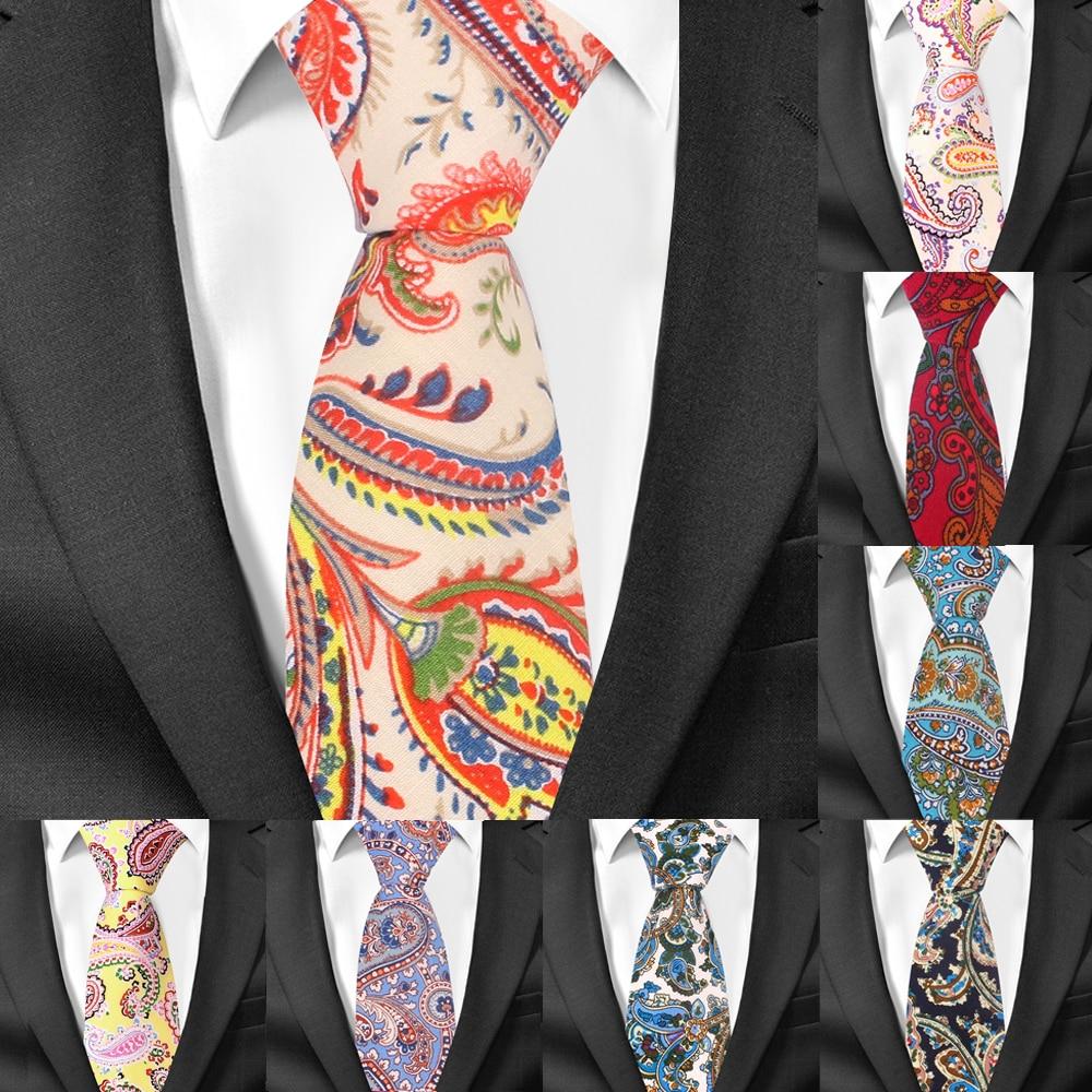 New Cashew Ties For Men Cotton Print Slim Men Necktie Suits Mens Neck Tie For Business Cravats Paisley Groom Neckties