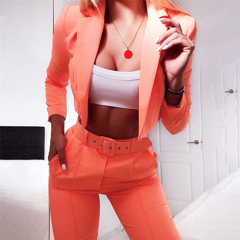 Two Piece Set Women's Suit Casual Suits Long Sleeve Suit Pants 2 Piece Set For Female Two Piece Sets S M L