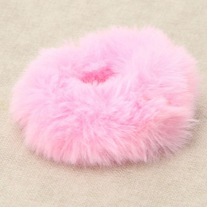 Модная эластичная резинка из искусственного кроличьего меха для девочек, резинка для волос, держатель для хвоста, эластичная плюшевая повязка для волос, кольцо, аксессуары для волос - Цвет: PK