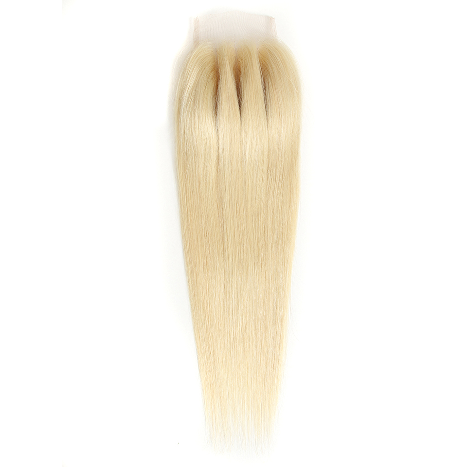 Rebecca Straight 613 Honey Blonde Closure Brazilian Remy Human Hair Closures 4x4 Transparent Swiss Lace Closure