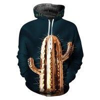 2019 Hot Sale Cactus Hoodies Long Sleeve Sweatshirt Men Novelty Streetwear Hooded Casual Pullover 3D Print Hoodies Clothing