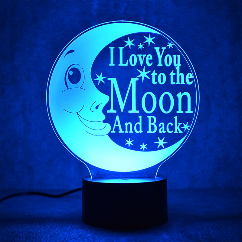 2018 New LOVE Moon 3D Nightlight Smart Home Table Lamp Energy Saving LED Lamp Simple Fashion Party atmosphere lights - drop ship