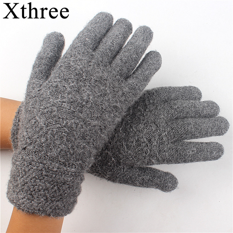 09fa10d7b Winter Autumn Women Knitted Gloves Screen High Quality Male Thicken Warm  Wool Cashmere Solid Gloves Girl-in Women's Gloves from Apparel Accessories  on ...