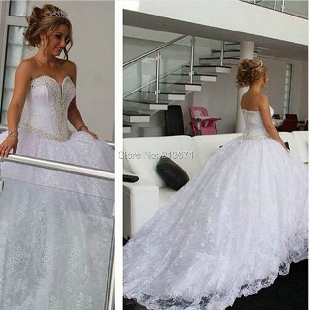 2973a650b1c Romantic 2016 Custom Made Luxury White Beading Lace Puffy Wedding Ball Gowns  Lace-Up Vestido