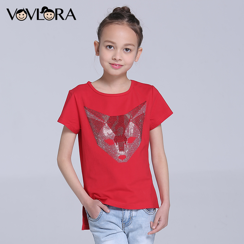 Girls Tops T-shirt O-neck Cotton Short Sleeve Kids T-shirts Rhinestones Animal Girls Clothes Spring 2018 Size 7 8 9 10 11 12 Y