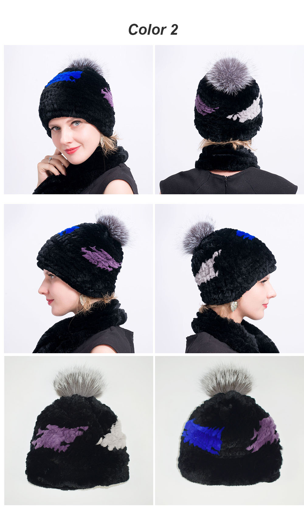 rex rabbit fur hat pompom color 2