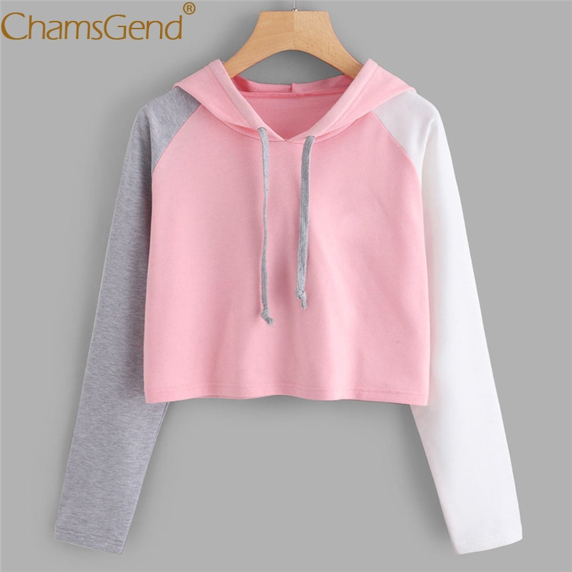 Color Block Women Crop Hoodie Sweatshirts Teens Girls Pullover Streetwear Spring Autumn Long Sleeve Hoody Shirts Blouse 90117
