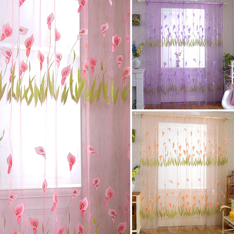 Door Drape Panel Room Curtain Divider Scarf Sheer Voile Window Curtain Decor