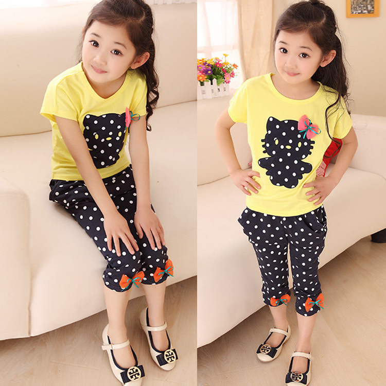 Toddler Kids Baby Girls Outfit Clothes  Print T-shirt Tops+Dot Pants Trousers 2PCS Set Tops children's clothing sets retail 2014 2pc baby girls kids rabbit tops dot denim overalls dresses outfit clothes children s clothing set suits