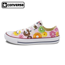 Low Top Converse All Star Women Men Shoes Custom Original Design Pink Donut Hand Painted Shoes Canvas Sneakers Christmas Gifts