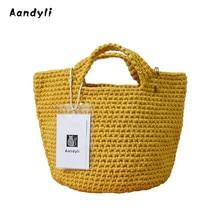 Handmade Tote bags Weave Bucket bag women's handbags woven bag women's single shoulder bag цена в Москве и Питере