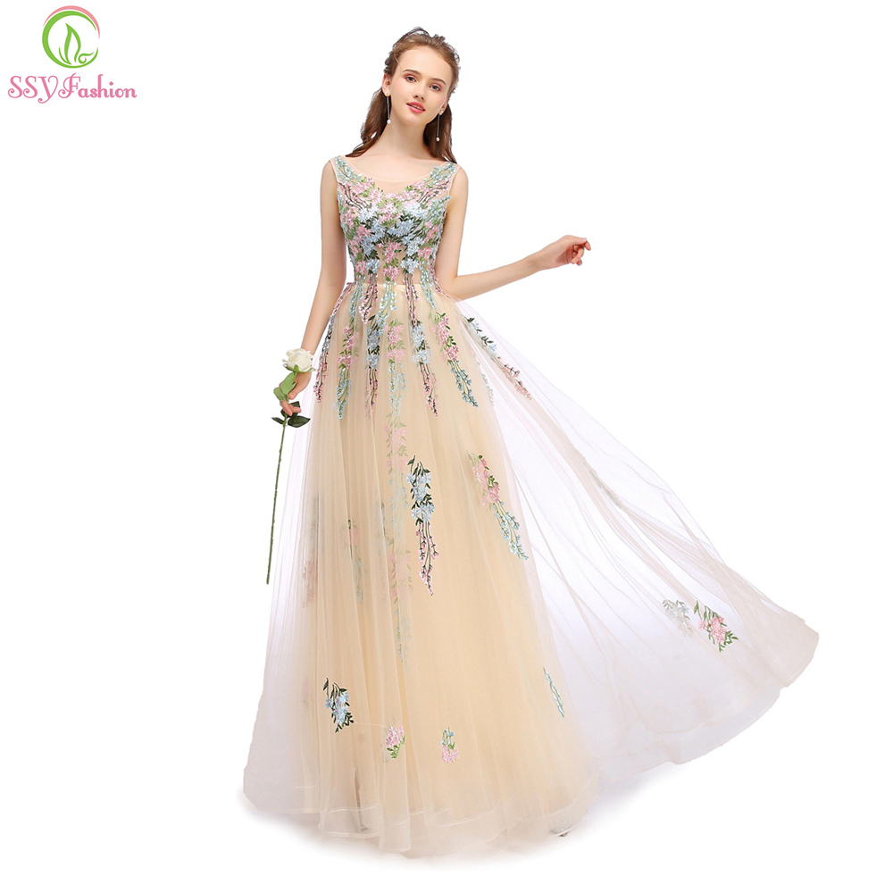 SSYFashion New Champange Lace Embroidery Long Evening Dress The Bride Banquet Elegant Sleeveless Floor length Prom