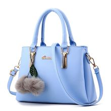 купить High Quality Women Leather Handbag Shoulder Fur Ball Pendant Crossbody Bag Tote Messenger Hobo Satchel Top Handle Bags 2019 New по цене 1018.65 рублей