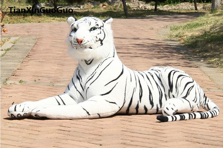 large 85cm white prone tiger plush toy artificial tiger soft doll throw pillow birthday gift b2739 stuffed animal 88 cm plush lying tiger toy white tiger doll great gift w493