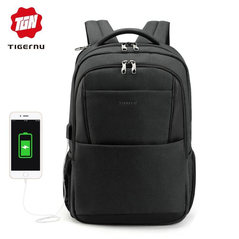 Tigernu العلامة التجارية الذكور mochila 15.6 كمبيوتر محمول على ظهره الرجال usb كبيرة حقيبة ظهر للسفر ضئيلة للماء مكافحة سرقة المدرسية النساء-في حقائب الظهر من حقائب وأمتعة على  مجموعة 1