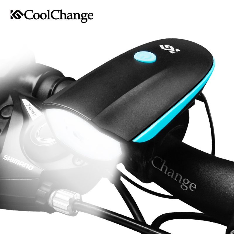 цена CoolChange Bicycle Bell USB Charging Bike Horn Light Headlight Cycling Multifunction Ultra Bright Electric 140 db Horn Bike Bell