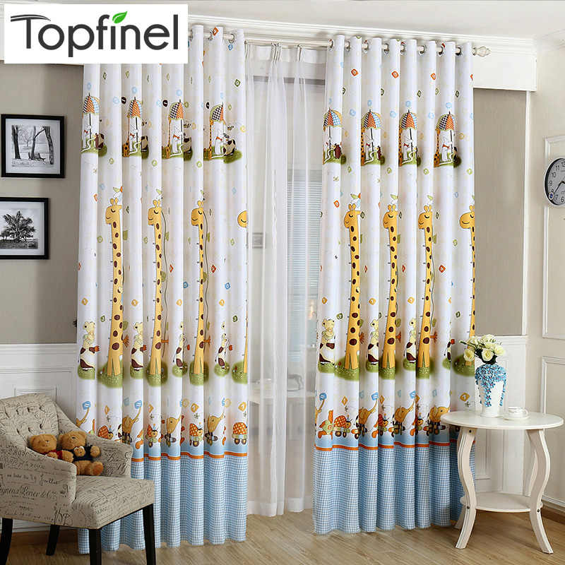Top Finel Cartoon Cute Giraffe Finished Blackout Curtains for Kids Children Living Room the Bedroom Window Curtain Panel Drapes
