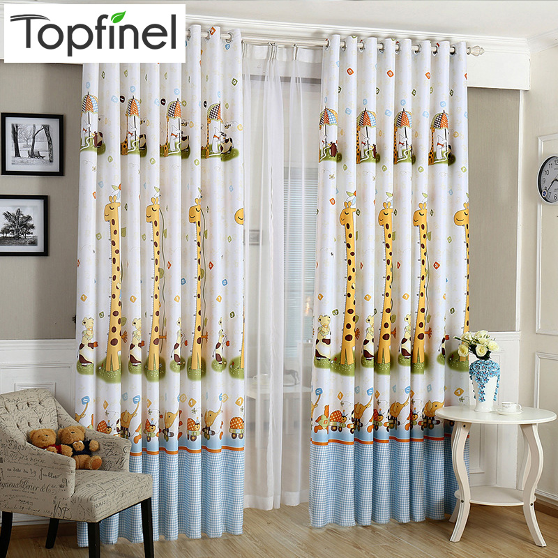 Top Finel 2016 Cartoon Jirafa Acabado Blackout Cortinas para niños Sala de estar del dormitorio Cortina de ventana Panel Cortinas