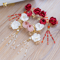 Fashion red flower harpins women hair clips rhinestone girl hairwear handmade pins bride fascinator wedding accessories qitong
