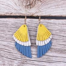 ZWPON Mixed Colors Genuine Leather Feather Earrings 2019 Lightweight Layered Wing Jewelry Wholesale